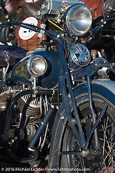 Steven Rinker's 1936 Indian Chief at the Old Town Museum in Burlington, Colorado for the hosted dinner stop during Stage 8 of the Motorcycle Cannonball Cross-Country Endurance Run, which on this day ran from Junction City, KS to Burlington, CO., USA. Saturday, September 13, 2014.  Photography ©2014 Michael Lichter.