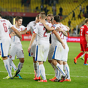 Czech Republic's Tomas Sivok (L) celebrate his goal with team mate during their UEFA Euro 2016 qualification Group A soccer match Turkey betwen Czech Republic at Sukru Saracoglu stadium in Istanbul October 10, 2014. Photo by Aykut AKICI/TURKPIX