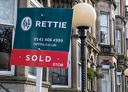 Sold sign on Queens Drive in Queens Park district of Glasgow, Scotland, United Kingdom