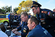 Israel, Carmel forest fire command post Russian firefighters on site