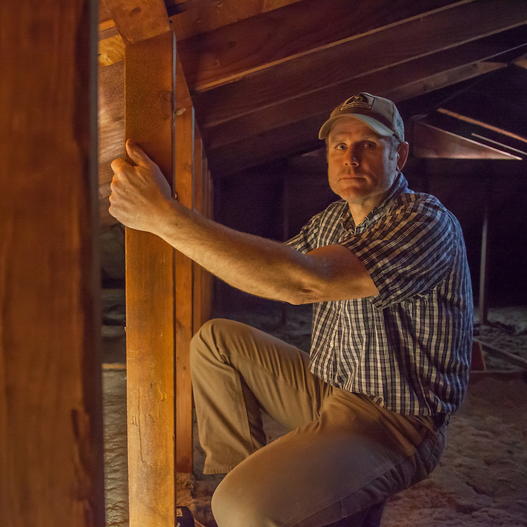 Rex Heywood inspects the attic prior to the start of the remodel of our residence on School Street in Calistoga.