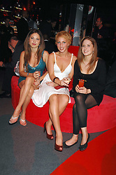 Left to right, SARA-JANE DAVIS, ANTONIA COMETA and CHANTEL DAVIS at a party to celebrate the launch of the new Fiat Bravo held at The Roundhouse Theatre, Chalk Farm Road, London on 13th June 2007.<br />