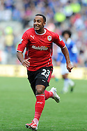 Nicky Maynard of Cardiff city in action.Barclays Premier league, Cardiff city v Everton at the Cardiff city Stadium in Cardiff,  South Wales on Saturday 31st August 2013. pic by Andrew Orchard,  Andrew Orchard sports photography,