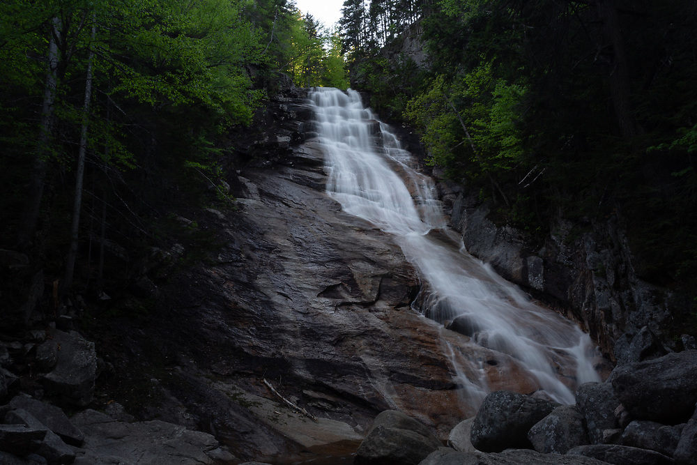 Ripley Falls making a slicing descent within the forests of Crawford Notch.