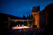 Ballet being performed in front of a medieval abbey, 17th July 2016, Lagrasse, France.