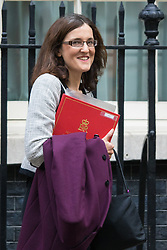 Downing Street, London, September 15th 2015.  Northern Ireland Secretary Theresa Villiers leaves 10 Downing Street after attending the weekly cabinet meeting