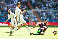Real Madrid's player Cristiano Ronaldo and Eibar FC's player Francisco Manuel Rico during a match of La Liga Santander at Santiago Bernabeu Stadium in Madrid. October 02, Spain. 2016. (ALTERPHOTOS/BorjaB.Hojas)