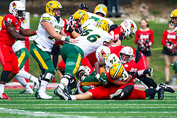 NORMAL, IL - October 05: John Ridgeway makes a solo tackle on Kobe Johnson during a college football game between the ISU (Illinois State University) Redbirds and the North Dakota State Bison on October 05 2019 at Hancock Stadium in Normal, IL. (Photo by Alan Look)