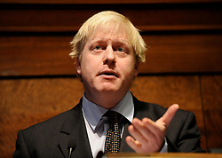 Boris Johnson<br /> launching his Manifesto at RIBA London Great Britain<br /> 17th March 2008<br /> <br /> Boris Johnson<br /> <br /> Photograph by Elliott Franks