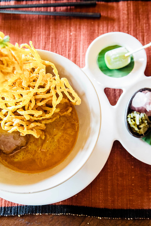 Khao Soi curry soup for lunch at Howie's Homestay