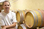 Vincent Goumard Domaine Mas Cal Demoura, in Jonquieres village. Terrasses de Larzac. Languedoc. Barrel cellar. Owner winemaker. France. Europe.