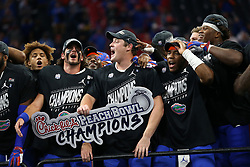Florida Gators players celebrate winning the Chick-fil-A Peach Bowl, Saturday, December 29, 2018, in Atlanta. (Jason Parkhurst via Abell Images for Chick-fil-A Peach Bowl)