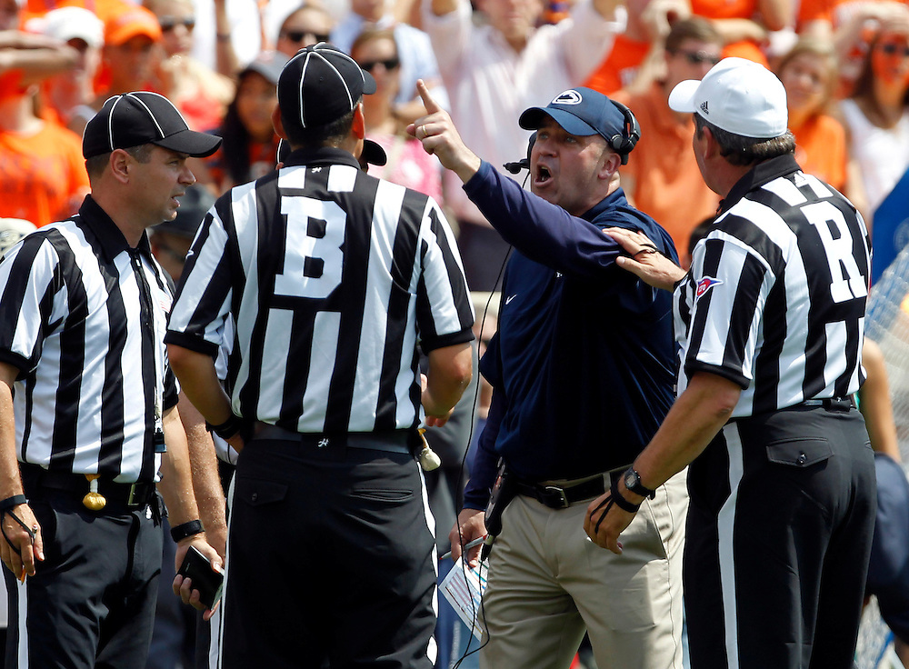 Penn State head coach Bill O'Brien reacts to a call made by the referees during the first half of an NCAA football game against Virginia Saturday Sept. 8, 2012 in Charlottesville, VA. Photo/Andrew Shurtleff