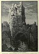 """TOWER OF THE CASTLE AT CAESAREA. Built by the Crusaders. It probably occupies the site of """" Strato's Tower,"""" which was succeeded by the """" Tower Drusus """" of Herod. Wood engraving of from 'Picturesque Palestine, Sinai and Egypt' by Wilson, Charles William, Sir, 1836-1905; Lane-Poole, Stanley, 1854-1931 Volume 3. Published in by J. S. Virtue and Co 1883"""