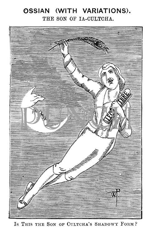 Ossian (With Variations). The Son of Ia-Culture. Is This the Son of Cultcha's Shadowy Form? (a Victoran cartoon shows Oscar Wilde floating into the night sky with a quill and lecture notes as a moon crescent looks on)