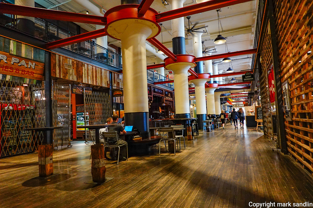 Interior of stores and food court in Ponce City Market