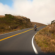 A motorcyclist rides his bike on Pacific Coast Highway in Caspar, California on September 10, 2013. (AP Photo/Alex Menendez)