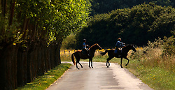 KNOKKE, BELGIUM - JULY-29-2005 -  Riding horses on the Zwim in Knokke. (Photo © Jock Fistick)