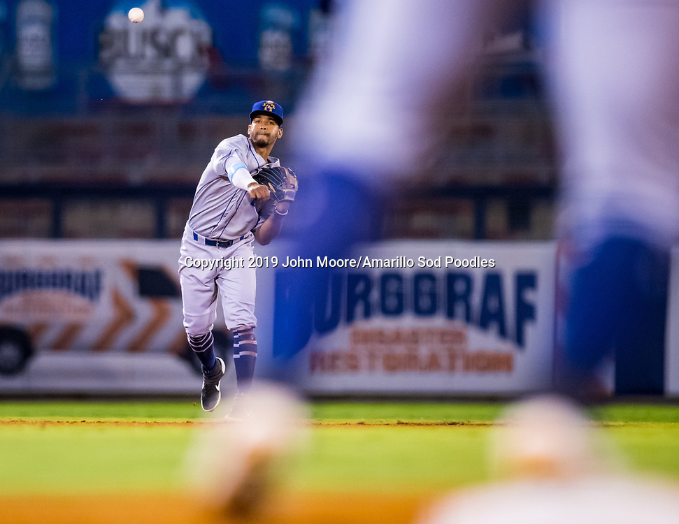 Amarillo Sod Poodles infielder Ivan Castillo (2) throws the ball to first base against the Tulsa Drillers during the Texas League Championship on Friday, Sept. 13, 2019, at OneOK Field in Tulsa, Oklahoma. [Photo by John Moore/Amarillo Sod Poodles]