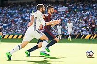 Real Madrid's player Daniel Carvajal and Eibar FC's player Francisco Manuel Rico during a match of La Liga Santander at Santiago Bernabeu Stadium in Madrid. October 02, Spain. 2016. (ALTERPHOTOS/BorjaB.Hojas)