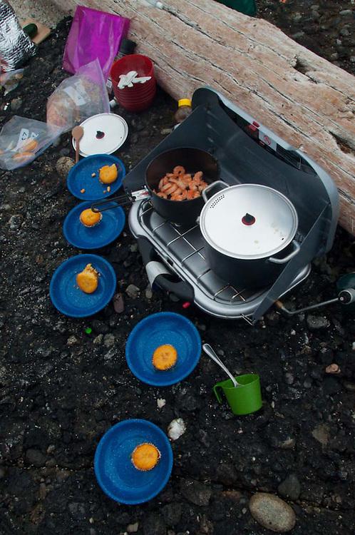 Jalapeno Cornbread, Corn Soup and Shrimp, Gossip Island, San Juan Islands, Washington, US