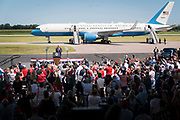 Crowds cheer as President Donald Trump takes the stage at a campaign rally at North Star Aviation in Mankato, Minnesota on Monday, Aug. 17, 2020.