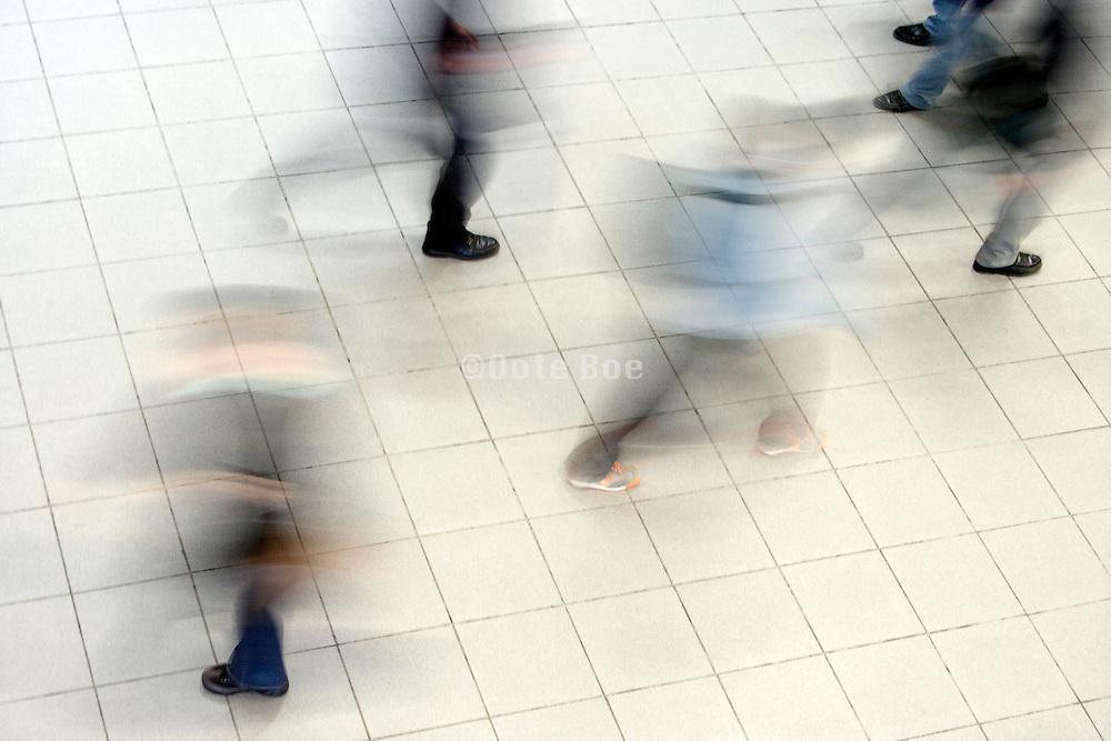 overhead view of people walking
