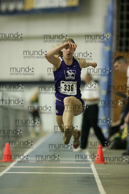 (Windsor, Ontario---13 March 2010) Mila Simulik of University of Western Ontario Mustangs  competes in the women's triple jump at the 2010 Canadian Interuniversity Sport Track and Field Championships at the St. Denis Center. Photograph copyright GEOFF ROBINS/Mundo Sport Images. www.mundosportimages.com