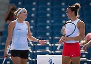 Timea Bacsinszky of Switzerland and Maria Sakkari of Greece during practice at the 2018 US Open Grand Slam tennis tournament, New York, USA, August 22th 2018, Photo Rob Prange / SpainProSportsImages / DPPI / ProSportsImages / DPPI