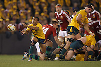 MELBOURNE, 29 JUNE - Will GENIA of the Wallabies passes the ball during the Second Test match between the Australian Wallabies and the British & Irish Lions at Etihad Stadium on 29 June 2013 in Melbourne, Australia. (Photo Sydney Low / asteriskimages.com)