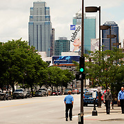 Street level view of downtown Kansas City from Grand Avenue.