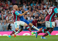 Football - 2016/2017 Premier League - Chelsea V West Ham United. <br /> <br /> Diego Costa of Chelsea and James Collins of West Ham tangle at Stamford Bridge.<br /> <br /> COLORSPORT/DANIEL BEARHAM