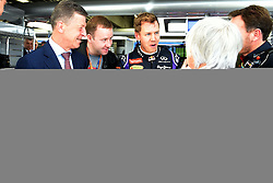 10.10.2014, Sochi Autodrom, Sotschi, RUS, FIA, Formel 1, Grosser Preis von Russland, Training, im Bild Dmitry Kozak (RUS) Deputy Prime Minister of the Russian Federation, with Sebastian Vettel (GER) Red Bull Racing, Christian Horner (GBR) Red Bull Racing Team Principal and Bernie Ecclestone (GBR) CEO Formula One Group (FOM). // during the Practice of the FIA Formula 1 Russia Grand Prix at the Sochi Autodrom in Sotschi, Russia on 2014/10/10. EXPA Pictures © 2014, PhotoCredit: EXPA/ Sutton Images<br /> <br /> *****ATTENTION - for AUT, SLO, CRO, SRB, BIH, MAZ only*****