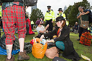 Vauxhall gardens is cleared of Extinction Rebellion supporters on the 15th of October 2019 following a controversial issue of a Section 14 notice, declaring it illegal for them to protest in London, United Kingdom. <br /> <br /> Extinction Rebellion, who are seeking a judicial review of the ban, has pledged to cause two weeks of disruption in London and more than 60 cities around the world in an 'October Rebellion'. It is demanding that more be done to tackle climate change and force politicians and the media 'tell the truth' about global warming.
