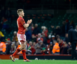 Gareth Anscombe of Wales applauds the fans<br /> <br /> Photographer Simon King/Replay Images<br /> <br /> Under Armour Series - Wales v South Africa - Saturday 24th November 2018 - Principality Stadium - Cardiff<br /> <br /> World Copyright © Replay Images . All rights reserved. info@replayimages.co.uk - http://replayimages.co.uk