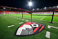 General view inside a floodlit Vitality Stadium with the AFC Bournemouth Logo before the Premier League match between Bournemouth and Huddersfield Town at the Vitality Stadium, Bournemouth, England on 4 December 2018.
