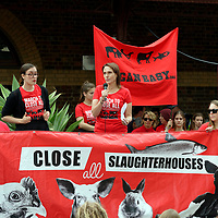 Hundreds of animal rights activists rallied in Melbourne's CBD on April 6 2019, calling for the end to slaughterhouses amid meat sales outside the city's renowned Queen Victoria Market.