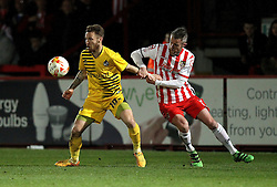 Matt Taylor of Bristol Rovers holds off Dean Wells of Stevenage - Mandatory by-line: Robbie Stephenson/JMP - 19/04/2016 - FOOTBALL - Lamex Stadium - Stevenage, England - Stevenage v Bristol Rovers - Sky Bet League Two