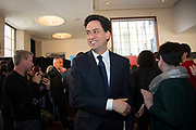 London, UK. Wednesday 29th April 2015. Labour Party Leader Ed Miliband leaving a General Election 2015 campaign event on the Tory threat to family finances, entitled: The Tories' Secret Plan. Held at the Royal Institute of British Architects.