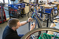 Bike workshop at Kingswood Centre, a secure centre for people with mental health issues for assessment and/or treatment who may have come into contact with the Criminal Justice System,  London Borough of Enfield, Barnet, Enfield & Haringey Mental Health Trust, London UK