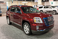 CHARLOTTE, NC, USA - November 11, 2015: GMC Terrain on display during the 2015 Charlotte International Auto Show at the Charlotte Convention Center in downtown Charlotte.