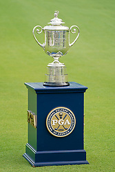 August 12, 2018 - St. Louis, Missouri, United States - General view of the Wanamaker trophy on the 18th green after the 100th PGA Championship at Bellerive Country Club. (Credit Image: © Debby Wong via ZUMA Wire)