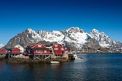 Traditional red wooden Rorbu fishermens` huts in village of Henningsvaer in Lofoten Islands in Norway