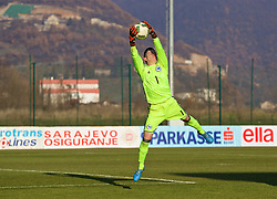 ZENICA, BOSNIA AND HERZEGOVINA - Tuesday, November 28, 2017: Bosnia and Herzegovina's goalkeeper Almina Hodžić during the FIFA Women's World Cup 2019 Qualifying Round Group 1 match between Bosnia and Herzegovina and Wales at the FF BH Football Training Centre. (Pic by David Rawcliffe/Propaganda)