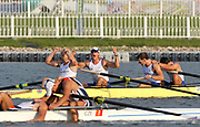 Shunyi, CHINA.   Gold medalist, GBR M4-, right to left, Tom JAMES, Steve WILLIAMS, Peter REED and Andy TRIGGS HODGE, at the 2008 Olympic Regatta, Shunyi Rowing Course.  Sat,.16.08.2008.  [Mandatory Credit: Peter SPURRIER, Intersport Images