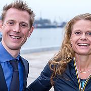 NLD/Amsterdam/20150324 - Schaatsgala 2014, Jochem Uytdehaage en partner Danielle Mouissie