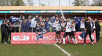 Bolton Wanderers celebrate promotion to League One<br /> <br /> Photographer Rob Newell/CameraSport<br /> <br /> The EFL Sky Bet League Two - Crawley Town v Bolton Wanderers - Saturday 8th May 2021 - Broadfield Stadium - Crawley<br /> <br /> World Copyright © 2021 CameraSport. All rights reserved. 43 Linden Ave. Countesthorpe. Leicester. England. LE8 5PG - Tel: +44 (0) 116 277 4147 - admin@camerasport.com - www.camerasport.com
