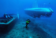 Scuba diving on shipwreck with submarine in Hawaii, Big Island