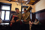 Traditional Czech musicians play at the U Fleku beer hall and brewery in Prague, Czech Republic. Beer has been crafted at this location since 1459.