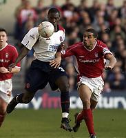 Picture: Henry Browne.<br /> Date: 25/01/2004.<br /> Nottingham Forest v Sheffield United FA Cup Fourth Round.<br /> <br /> Ross Gardner of United gets past Des Walker of Forest.